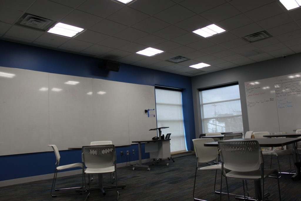 white boards and work stations at homewood brushton ymca