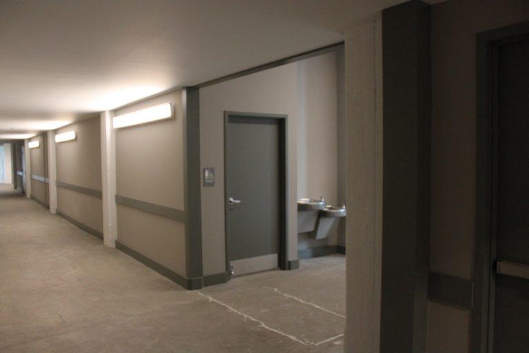 hallway and bathroom entrance in MAC building
